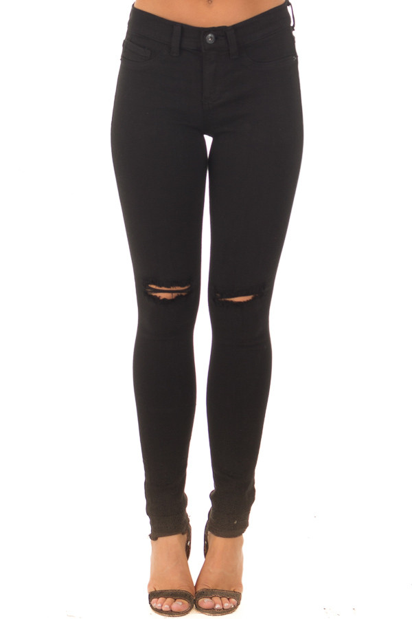 Black Denim with Distressed Knees front view