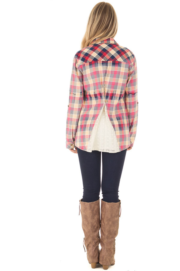 Multicolor Plaid Long Sleeve Top with Sheer Lace Split In Back back full body