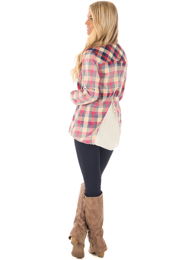 Multicolor Plaid Long Sleeve Top with Sheer Lace Split In Back back side full body