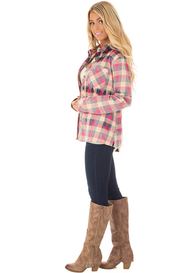 Multicolor Plaid Long Sleeve Top with Sheer Lace Split In Back side full body
