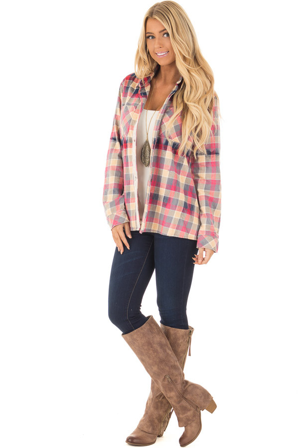 Multicolor Plaid Long Sleeve Top with Sheer Lace Split In Back front full body