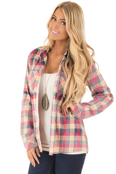 Multicolor Plaid Long Sleeve Top with Sheer Lace Split In Back front close up