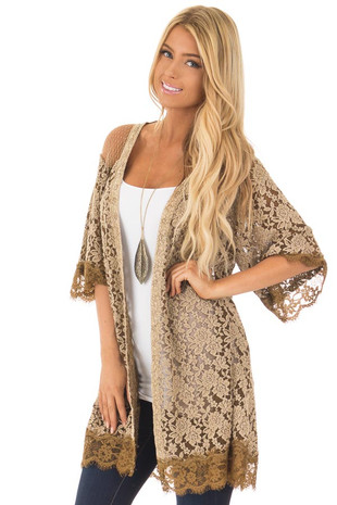 Mocha Short Sleeve Sheer Lace Cardigan front close up