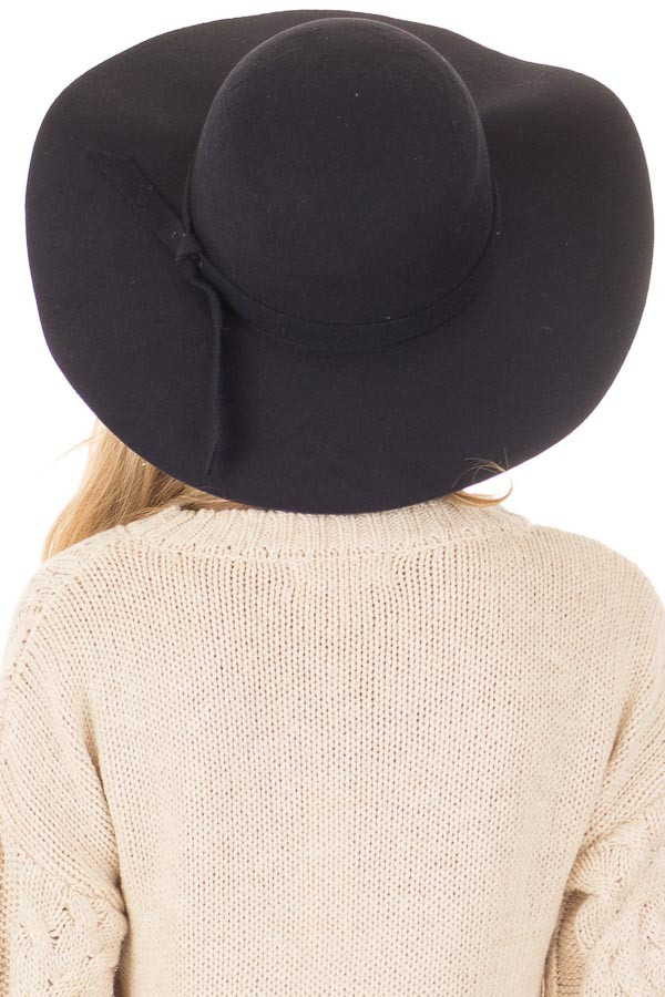 Black Floppy Wide Bow Knot Hat back view