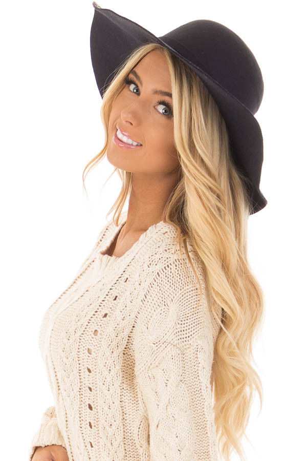 Black Floppy Wide Bow Knot Hat side view