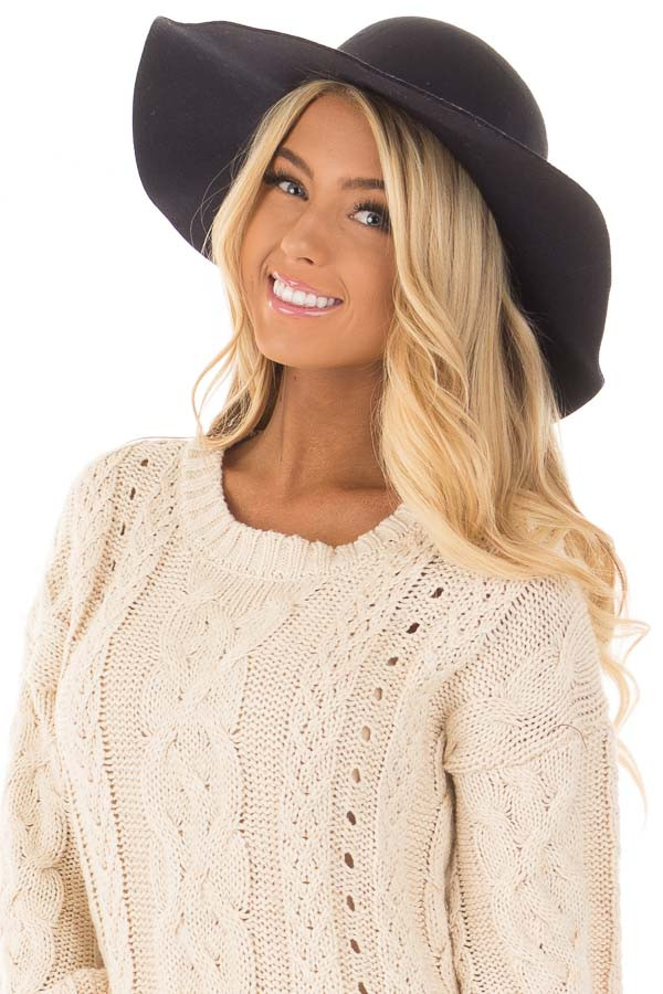 Black Floppy Wide Bow Knot Hat front view
