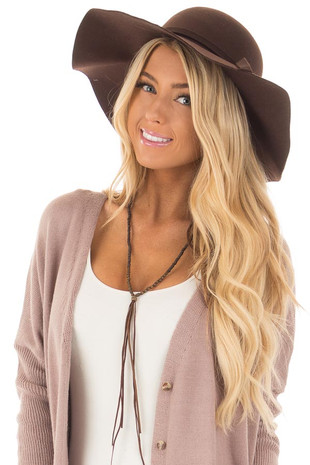 Brown Floppy Wide Bow Knot Hat front view