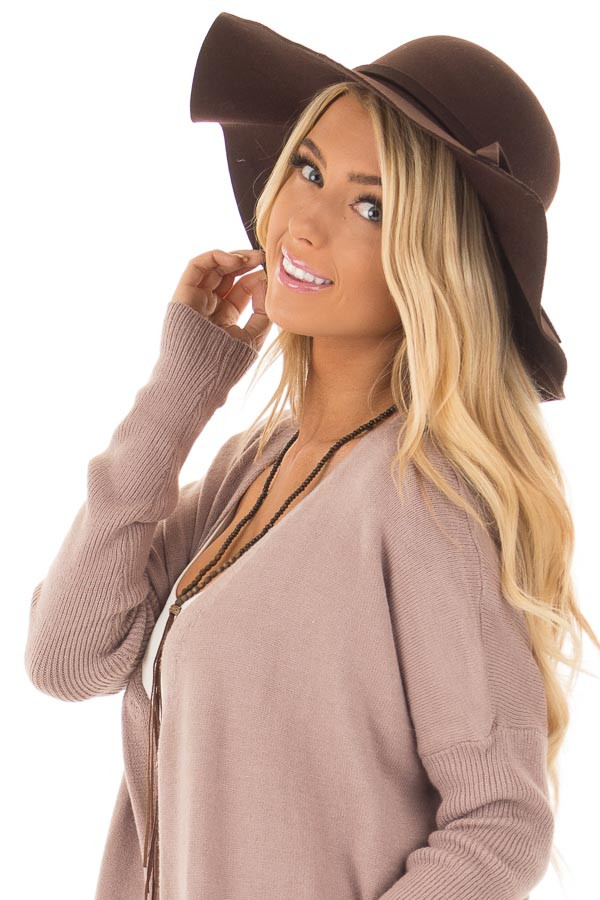 Brown Floppy Wide Bow Knot Hat side view