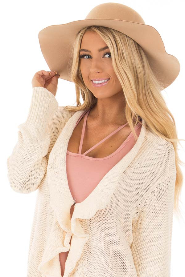 Camel Floppy Wide Bow Knot Hat front view