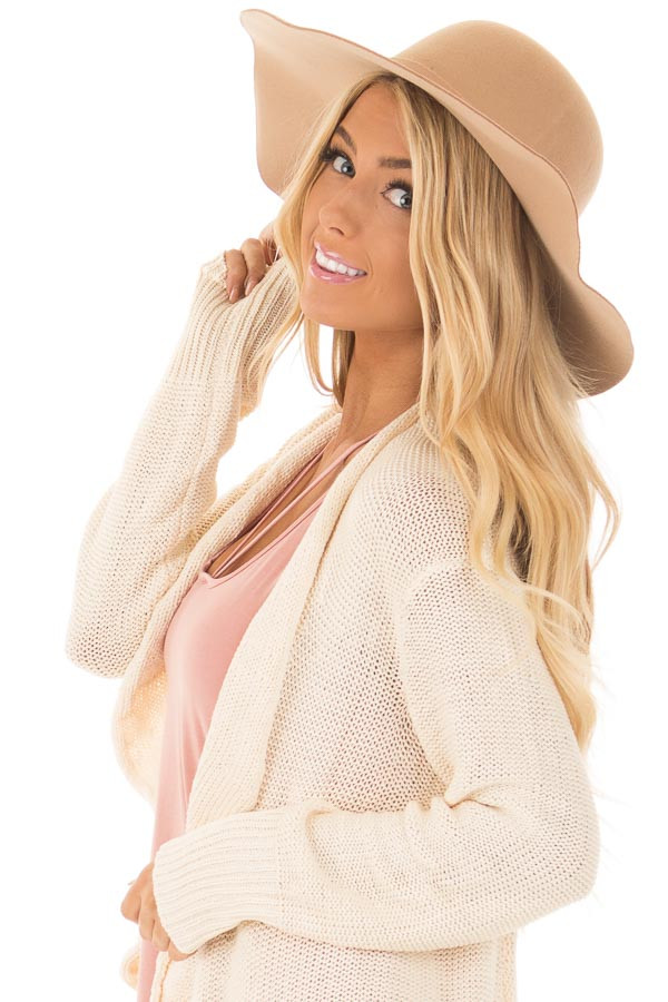 Camel Floppy Wide Bow Knot Hat side view