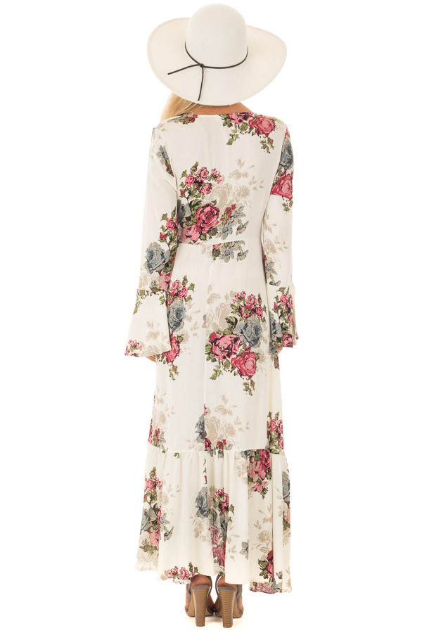 Cream Floral Print Maxi Wrap Dress back full body