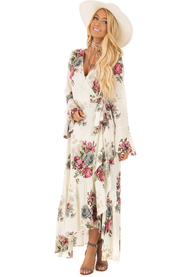 Cream Floral Print Maxi Wrap Dress front full bodyCream Floral Print Maxi Wrap Dress front full body