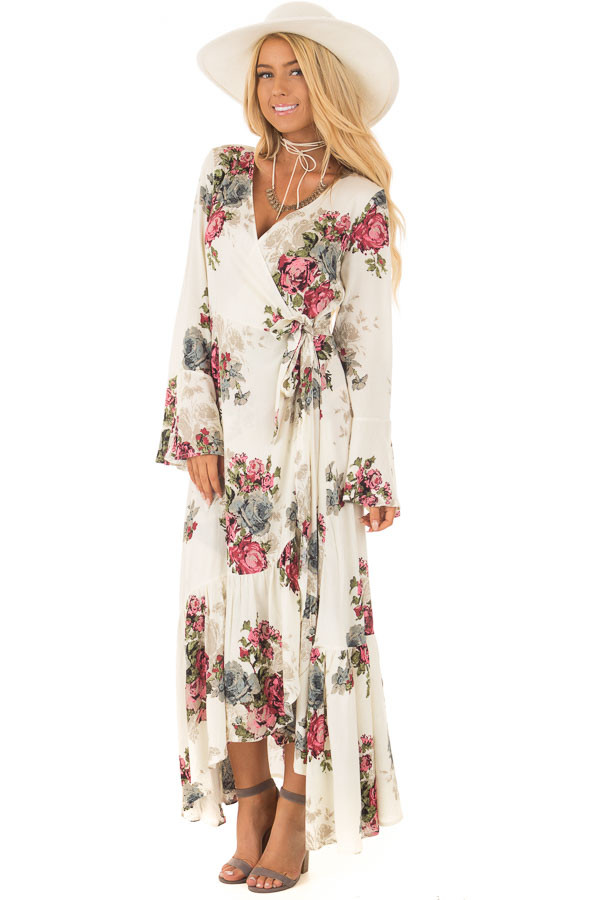 Cream Floral Print Maxi Wrap Dress front full body