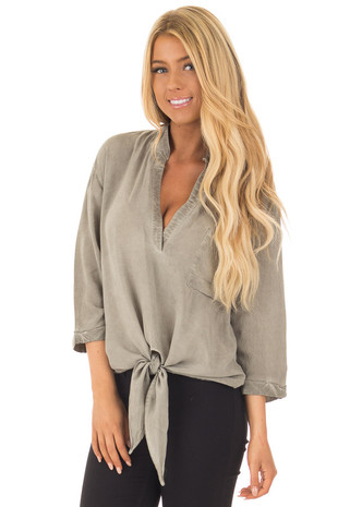 Light Sage V-Neck Top with Front Tie front close up
