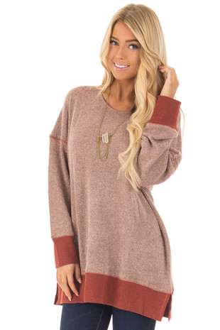 Rust Two Toned Long Sleeve Sweater with Reverse Stitching front close up
