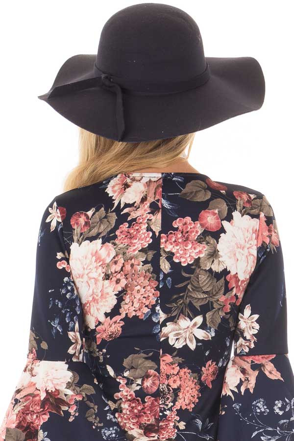 Navy Floppy Wide Hat with Bow Knot Detail back view