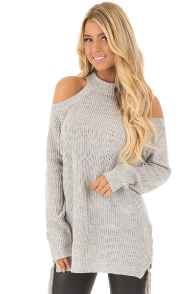 Heather Grey Cold Shoulder Long Sleeve Top front close up