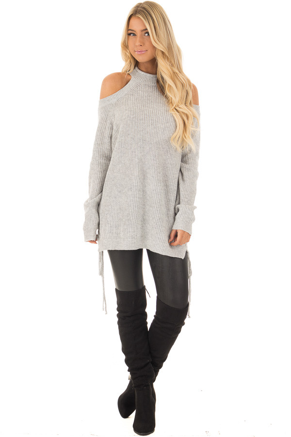 Heather Grey Cold Shoulder Long Sleeve Top front full body