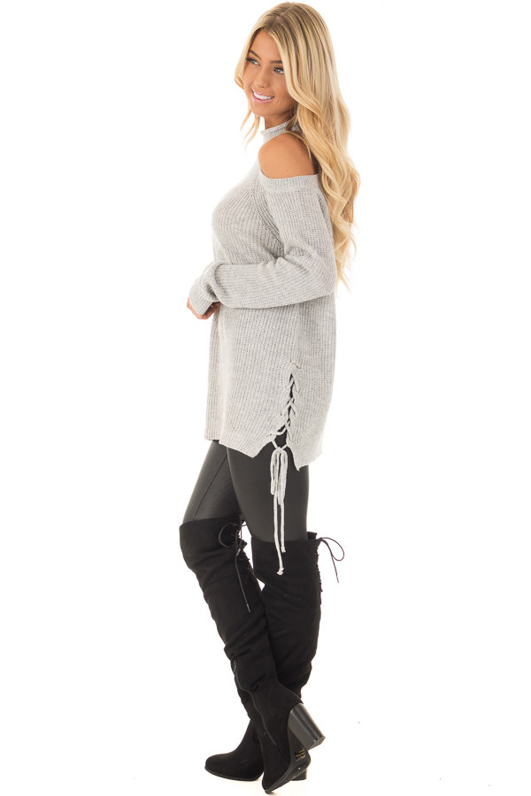 Heather Grey Cold Shoulder Long Sleeve Top side full body