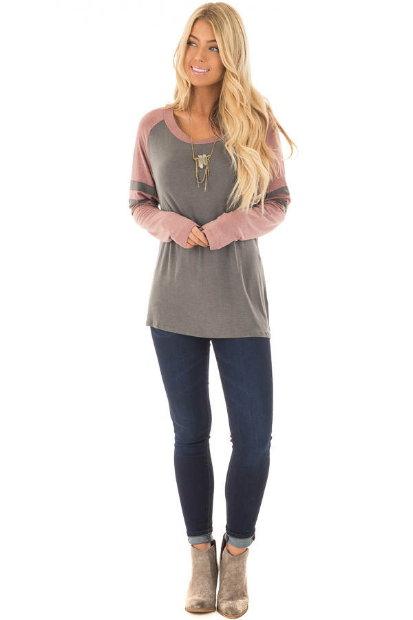 Charcoal and Mauve Washed Top with Striped Raglan Sleeves front full body