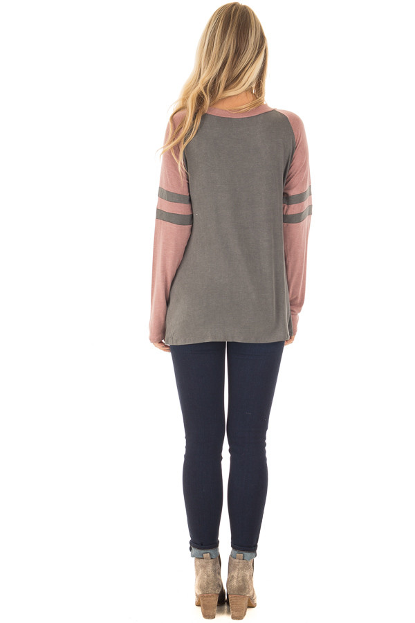 Charcoal and Mauve Washed Top with Striped Raglan Sleeves back full body