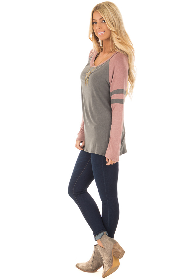 Charcoal and Mauve Washed Top with Striped Raglan Sleeves side full body