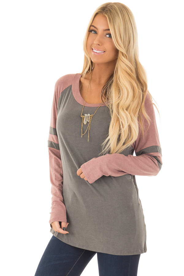 Charcoal and Mauve Washed Top with Striped Raglan Sleeves front close up