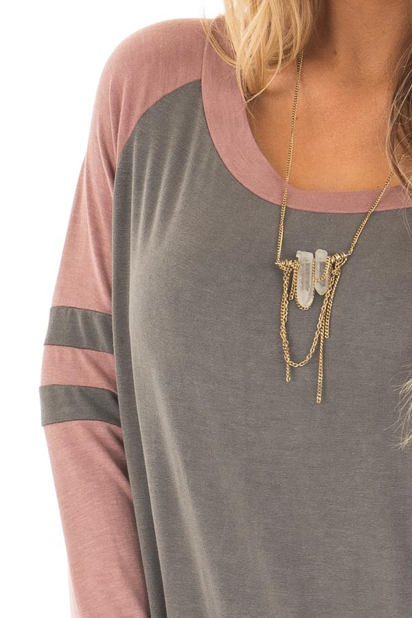Charcoal and Mauve Washed Top with Striped Raglan Sleeves detail