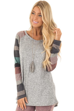 Mint and Heather Grey Stripe Raglan Long Sleeve Top front close up