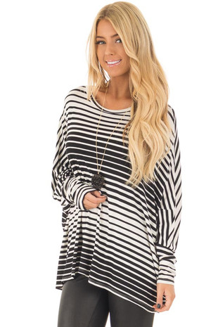 Black and White Variegated Striped Oversized Dolman Top front close up