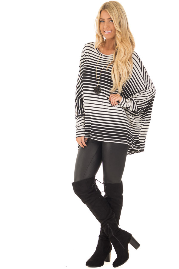 Black and White Variegated Striped Oversized Dolman Top front full body