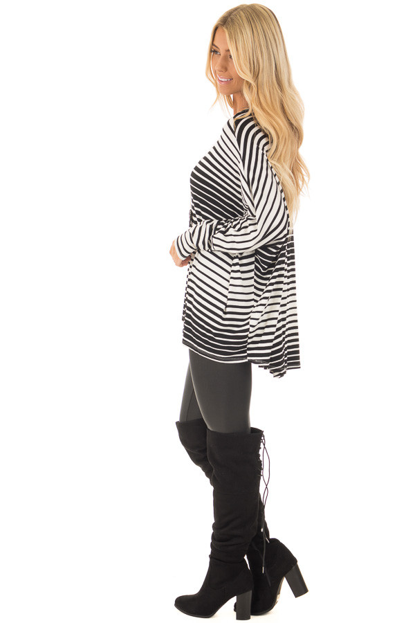 Black and White Variegated Striped Oversized Dolman Top side full body