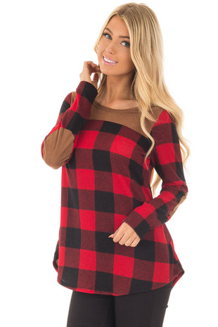 Red and Black Plaid Long Sleeve Top with Faux Suede Details front close up