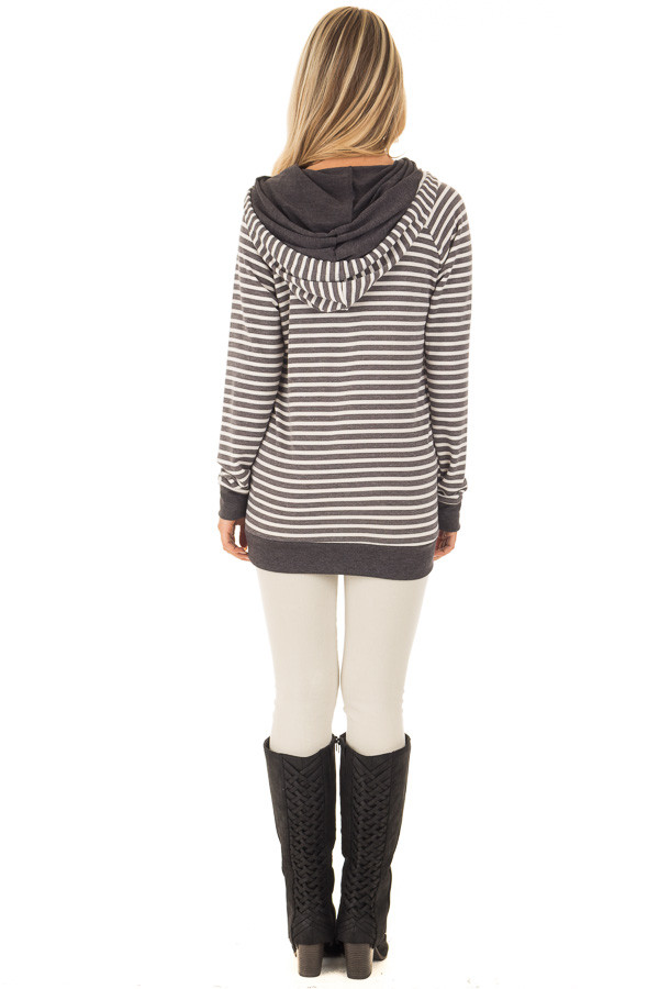 Charcoal Striped Hooded Sweatshirt with Front Pocket back full body