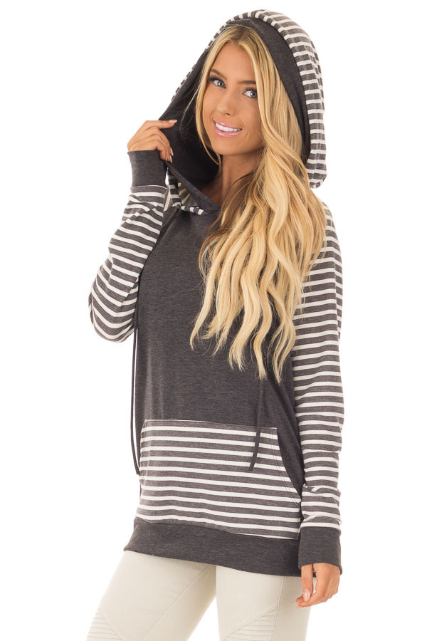 Charcoal Striped Hooded Sweatshirt with Front Pocket front close up