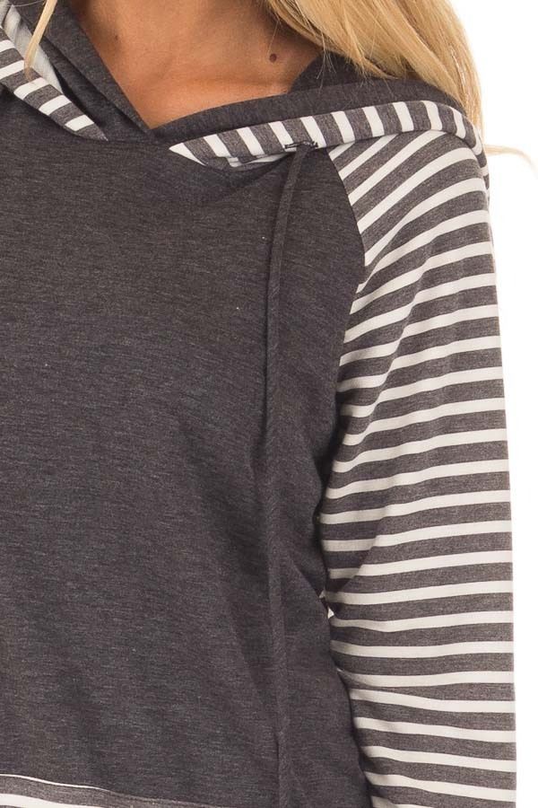 Charcoal Striped Hooded Sweatshirt with Front Pocket detail