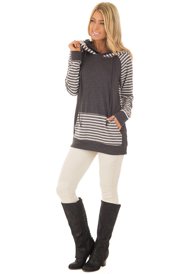 Charcoal Striped Hooded Sweatshirt with Front Pocket front full body