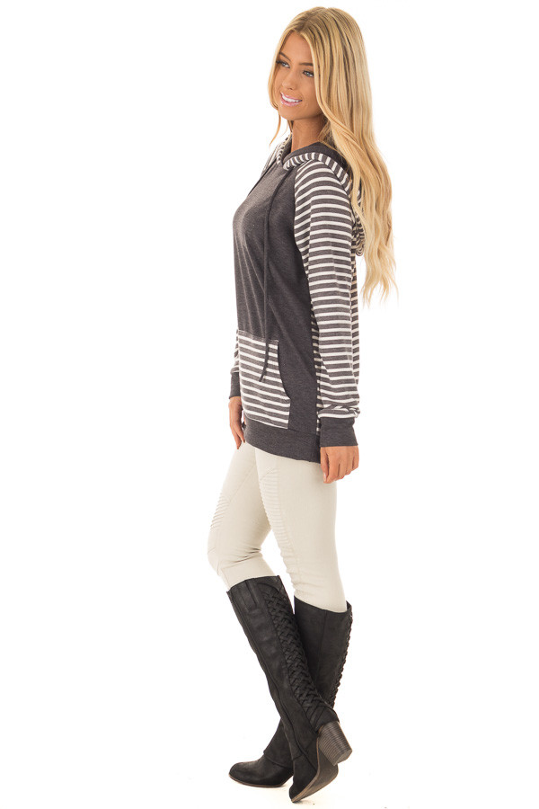 Charcoal Striped Hooded Sweatshirt with Front Pocket side full body