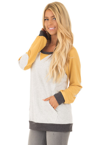 Mustard and Heather Grey Long Sleeve Top front close up
