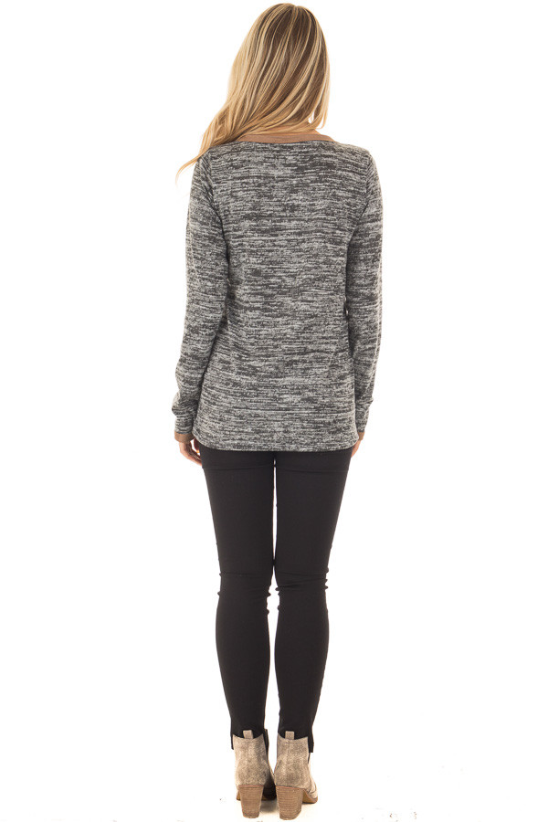 Charcoal Two Tone Sweater with Faux Suede Trim back full body