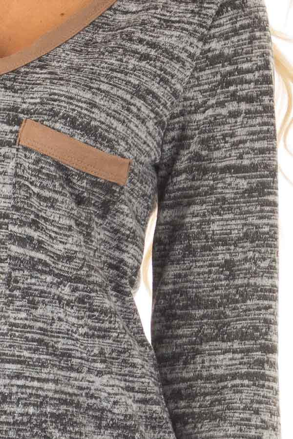 Charcoal Two Tone Sweater with Faux Suede Trim detail