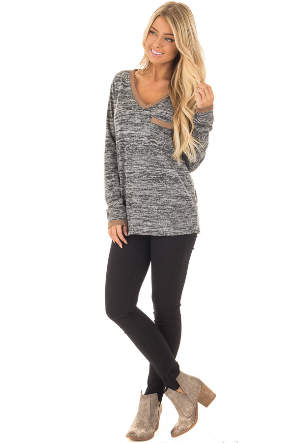 Charcoal Two Tone Sweater with Faux Suede Trim front full body