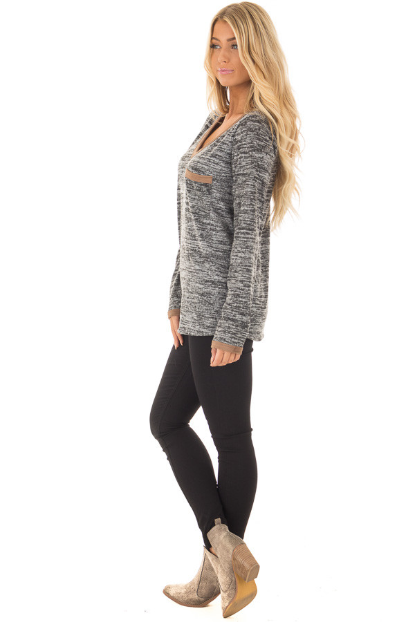 Charcoal Two Tone Sweater with Faux Suede Trim side full body