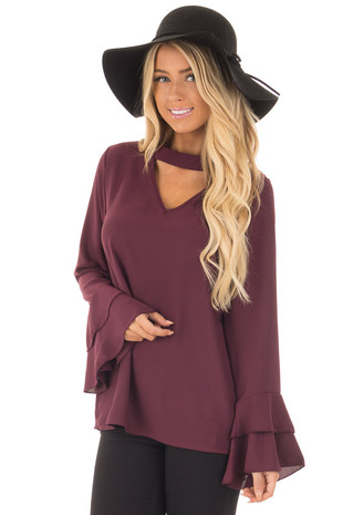 Plum Blouse with Choker Cut Out and Tiered Bell Sleeves front close up