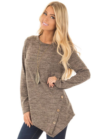 Mocha Two Tone Asymmetrical Top with Button Details front close up