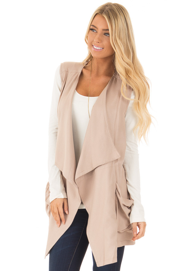 Beige Long Vest with Pockets front close up