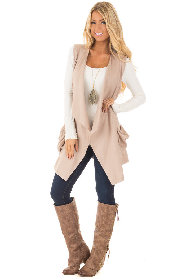 Beige Long Vest with Pockets front full body