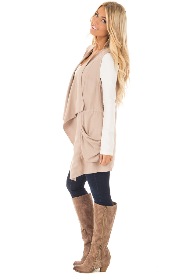 Beige Long Vest with Pockets side full body