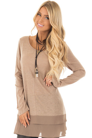 Mocha Long Sleeve Top with Sheer Woven Ruffle Hemline front close up