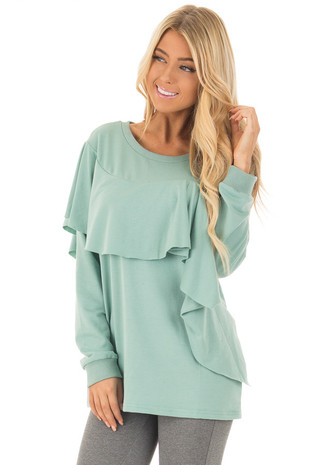 Mint Long Sleeve Sweater with Ruffle Detail front close up